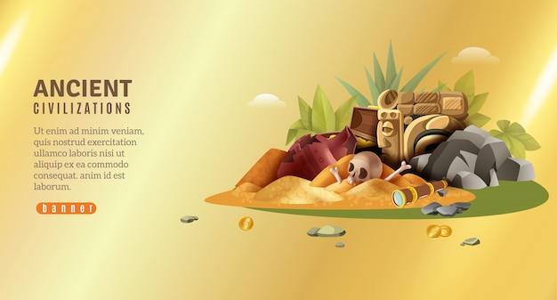 Banner horizontal de arqueología con texto editable y pila de hallazgos de civilizaciones antiguas en gradiente dorado