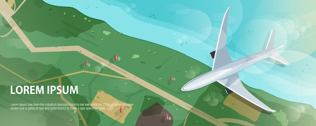 Banner horizontal con avión volando sobre la costa del mar o del océano, carreteras y casas, vista aérea.