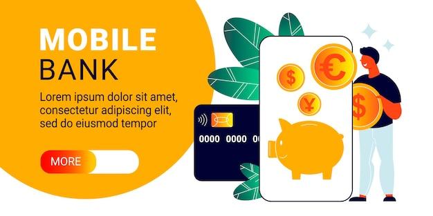 Banner horizontal de banco móvil con teléfono inteligente, tarjeta de crédito y monedas