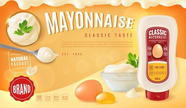 Banner horizontal con botella de plástico y recipiente de vidrio con mayonesa
