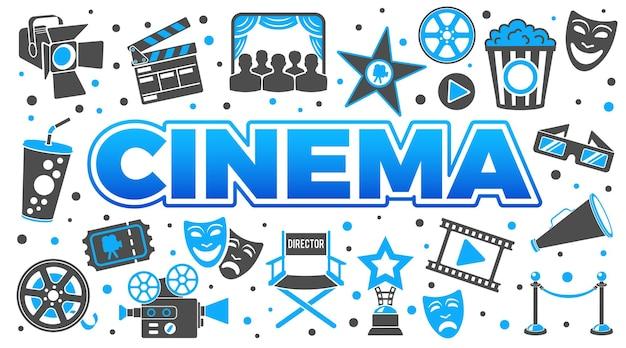 Banner horizontal de cine y película con iconos de dos colores set palomitas de maíz, premio, claqueta, entradas y gafas 3d. ilustración de vector aislado
