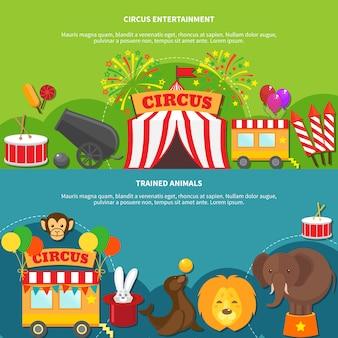 Banner horizontal de circo entretenimiento.