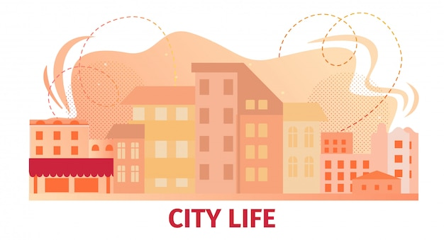 Banner horizontal de city life con vista de skyline urbano.