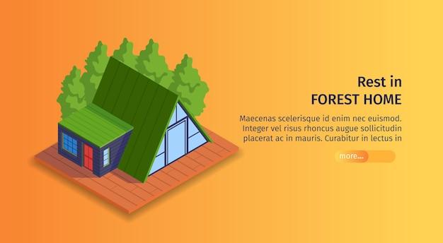 Banner horizontal de ciudad isométrica con botón deslizante de texto editable e imagen de casa al aire libre para descansar