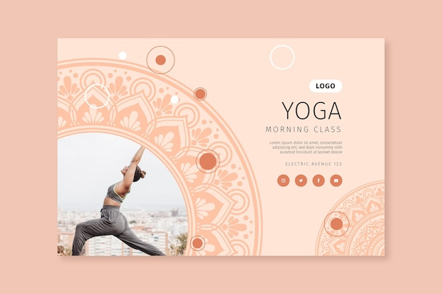 Banner horizontal de clase de yoga matutino