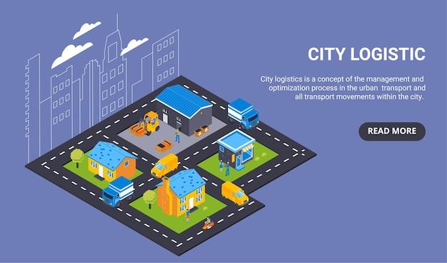 Banner horizontal del concepto de entrega isométrica con leer más texto de botón y vista de la ciudad con transporte