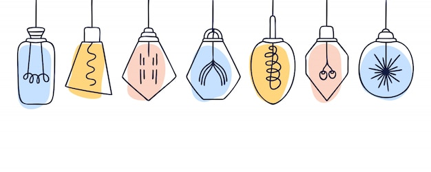 Banner horizontal con conjunto de vectores dibujados a mano de diferentes lámparas loft geométricas coloridas