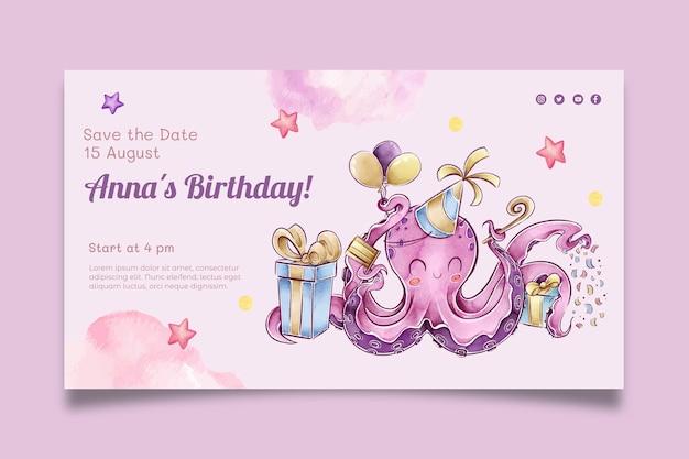 Banner horizontal cumpleaños infantil.