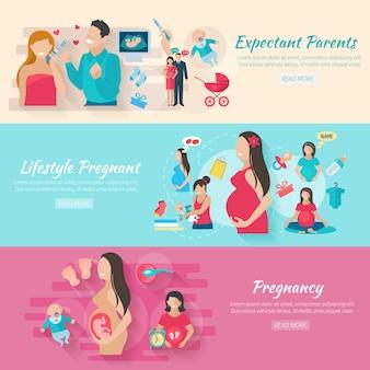 Banner horizontal de embarazo con elementos planos de padres y bebés aislados