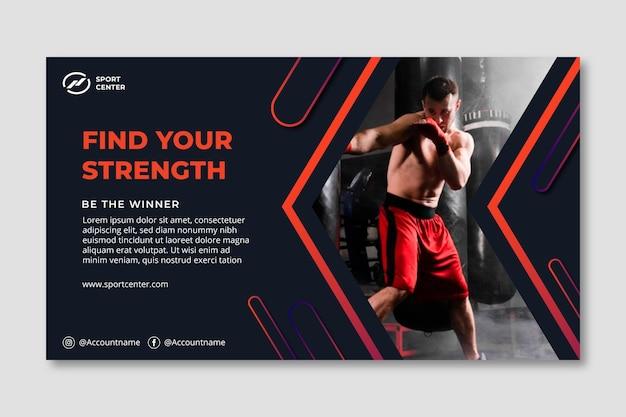 Banner horizontal de deporte degradado con boxeador masculino
