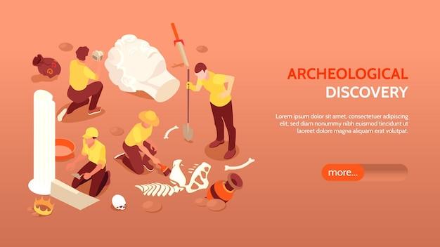 Banner horizontal de descubrimiento arqueológico con arqueólogos dedicados a excavaciones y hallazgos antiguos culturales paleontológicos isométricos