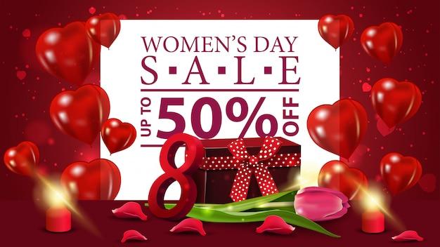 Banner horizontal de descuento rojo para el día de la mujer.