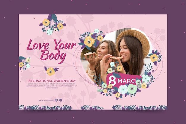 Banner horizontal para el día internacional de la mujer con mujeres y flores.