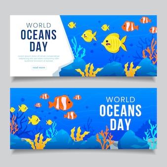 Banner horizontal del día mundial de los océanos de diseño plano