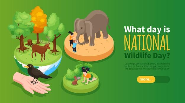 Banner horizontal del día mundial de la vida silvestre con personajes de dibujos animados de conejo elefante ciervo isométrico