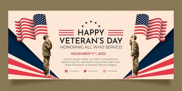 Banner horizontal del día del veterano plano dibujado a mano