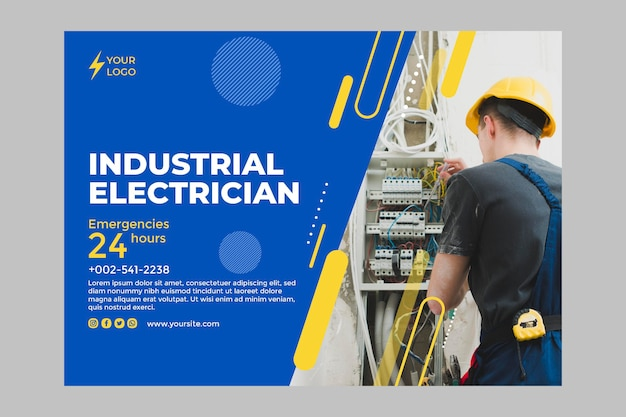 Banner horizontal de electricista