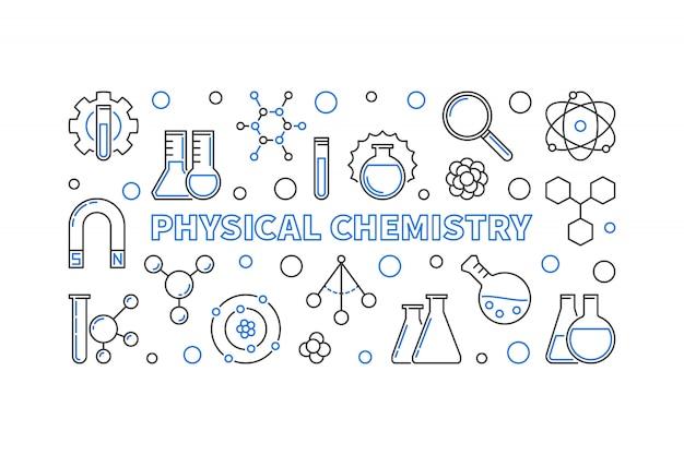 Banner horizontal de esquema de concepto de química física