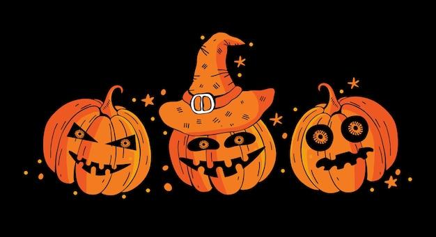 Banner horizontal feliz halloween con calabazas aterradoras sobre un fondo negro. ilustración de vector de dibujos animados coloridos de vacaciones.