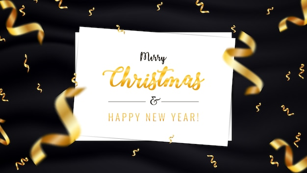 Banner horizontal de feliz navidad y feliz año nuevo