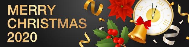 Banner horizontal de feliz navidad con reloj