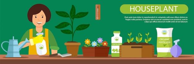 Banner horizontal fertilizante orgánico de plantas de interior.