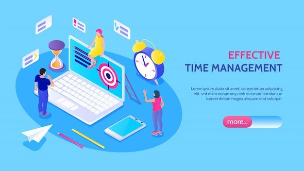 Banner horizontal de gestión eficaz del tiempo con iconos aislados de objetivo de reloj de arena de personajes masculinos y femeninos