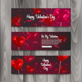 Banner horizontal con globos en forma de corazón, banner para la celebración del día de san valentín feliz.