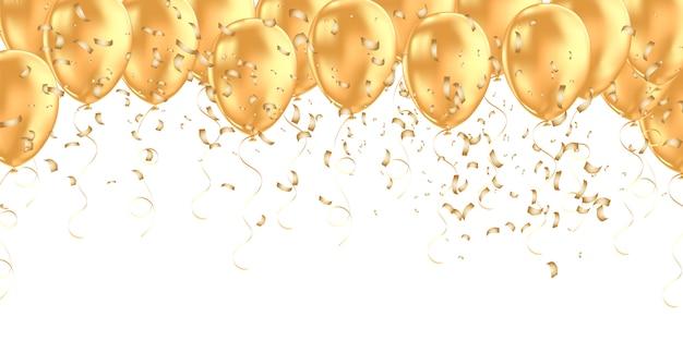Banner horizontal con globos de helio dorado.