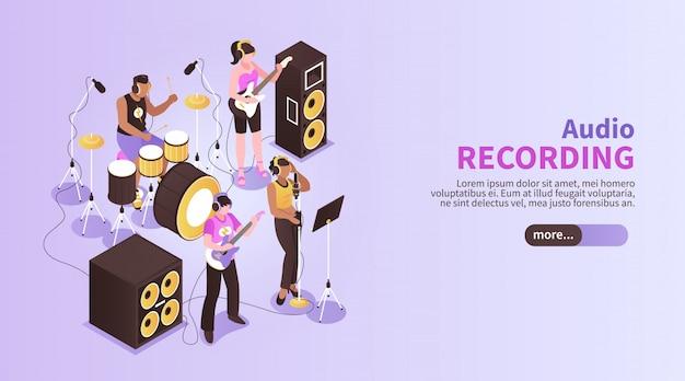 Banner horizontal de grabación de audio con banda de música tocando en la sala de estudio de grabación con instrumentos musicales isométricos