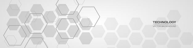 Banner horizontal gris suave médico hexagonal abstracto
