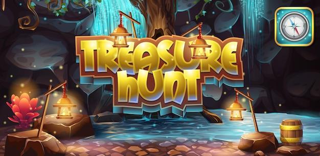 Banner horizontal, icono de la búsqueda del tesoro del juego de computadora