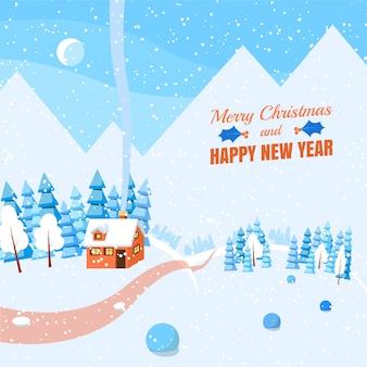 Banner horizontal de invierno paisaje estilo plano