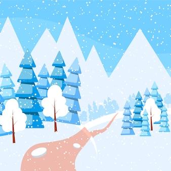 Banner horizontal de invierno