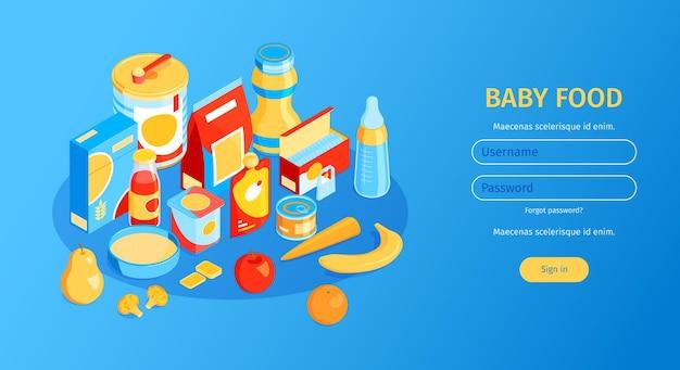 Banner horizontal isométrico de comida para bebés con campos para nombre de usuario y contraseña