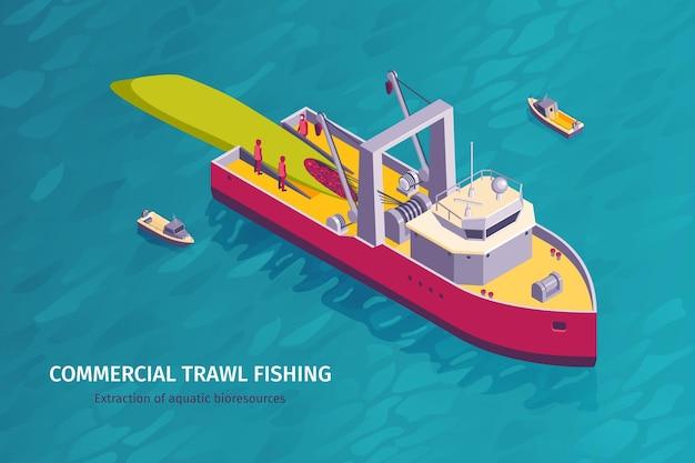 Banner horizontal isométrico de pesca comercial con mar abierto y barco de arrastre con miembros de la tripulación