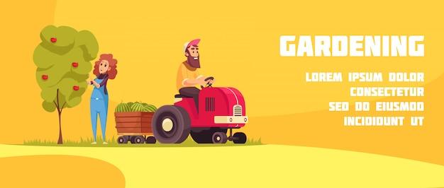 Banner horizontal de jardinería con agricultores durante la cosecha de frutas en dibujos animados de fondo amarillo