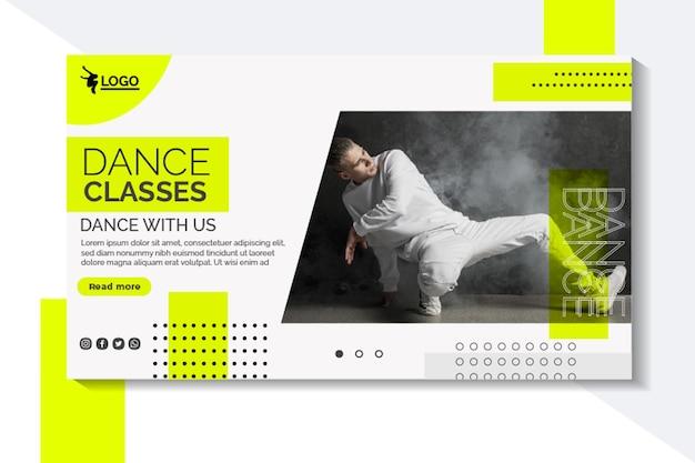 Banner horizontal para lecciones de baile con intérprete masculino.