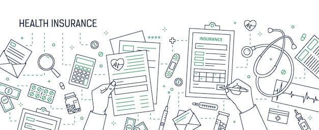 Banner horizontal con manos rellenando el formulario de seguro de salud rodeado de billetes y monedas, documentos, medicamentos dibujados con líneas de contorno. ilustración monocroma en estilo lineart.