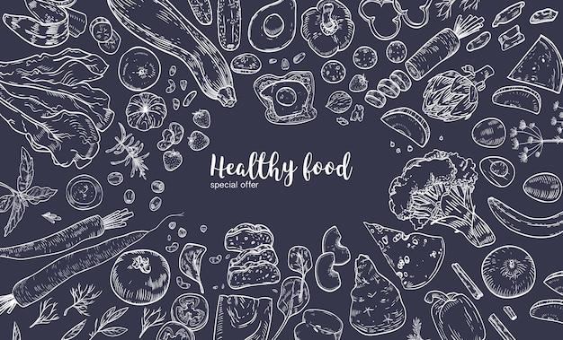 Banner horizontal con marco compuesto por varios alimentos saludables, productos orgánicos, frutas y verduras