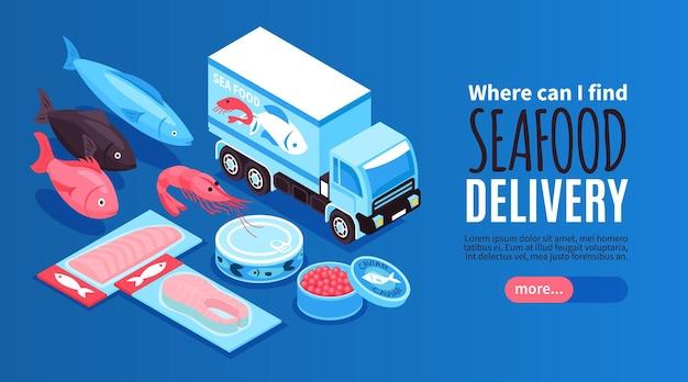 Banner horizontal de mariscos con camión de reparto y conjunto de productos de pescado frescos envasados y enlatados isométrica