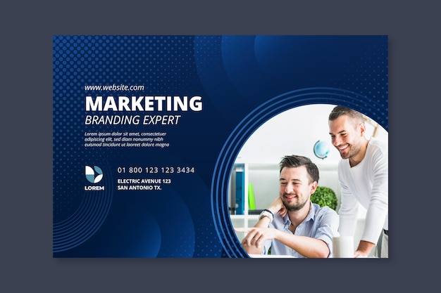 Banner horizontal de marketing empresarial