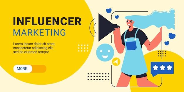 Banner horizontal de marketing de influencers con chica joven con megáfono que representa productos por ilustración de vector plano de aplicación de teléfono inteligente