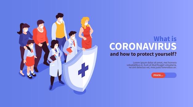 Banner horizontal de medicina isométrica y coronavirus.