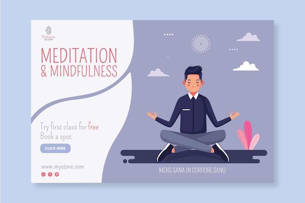 Banner horizontal de meditación y atención plena