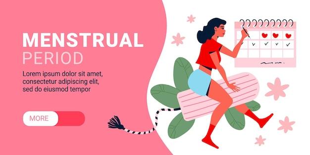 Banner horizontal de menstruación de mujer