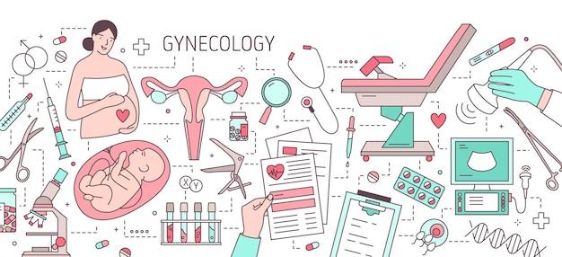 Banner horizontal moderno con mujer embarazada, feto en el útero, útero, sillón de examen ginecológico y equipo médico. ginecología y obstetricia. ilustración de vector colorido en estilo de arte de línea.