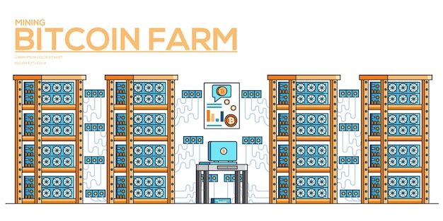 Banner horizontal de moneda criptográfica minera. mercado de dinero digital. ilustración de la granja de bitcoin.
