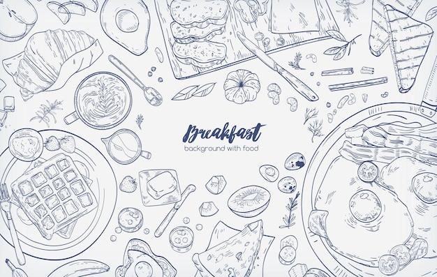Banner horizontal monocromo con varias comidas saludables por la mañana y desayunos dibujados a mano con líneas de contorno