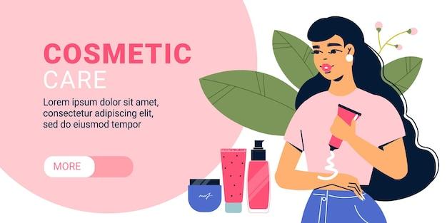 Banner horizontal de mujer de cosmetología